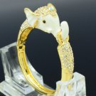 Gold Tone Enamel Elephant Bracelet Bangle Cuff W/ Clear Swarovski Crystals