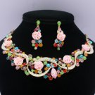 Vogue Acrylic Rose Flower Necklace Earring Set W Mix Rhinestone Crystals 02677