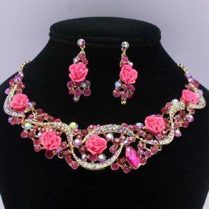 Vogue Acrylic Rose Flower Necklace Earring Set Fuchsia Rhinestone Crystals 02677