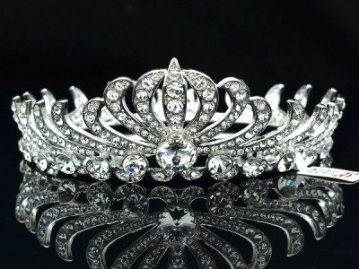 Round Flower Clear Swarovski Crystal Bridesmaid Bride Bridal Tiara Crown SH8563a