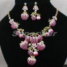 H-Quality Purple Swarovski Crystals Cherry Apple Strawberry Necklace Earring Set