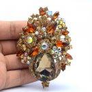 "Flower Brooch Broach Pin Bride 3.1"" W/ Brown Swaroski Crystals 5844"
