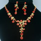 Simple Flower Necklace Earring Jewelry Sets W/ Red Swarovski Crystals SNA2880-9