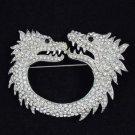 Vintage Style Animal Clear 2 Dragon Brooch Pin 2.7 W/ Rhinestone Crystals
