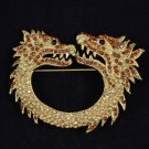 Vintage Style Animal Brown 2 Dragon Brooch Pin 2.7 W/ Rhinestone Crystals