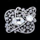 """8805916 Bridal Flower Brooch Pin 3.1"""" W/ Clear Rhinestone Crystals"""
