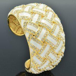 H-Quality Swarovski Crystals White Enamel Woven Bracelet Bangle Cuff SKA1942M-2