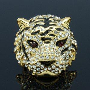 High Quality Tiger Cocktail Ring Size 9# w/ Clear Swarovski Crystals SR1618-5