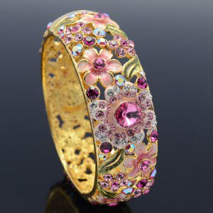 Swarovski Crystals High Quality Floral Flower Bracelet Bangle Cuff Pink 1305M-1