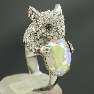 High Quality Animal Clear Swarovski Crystal Mouse Cocktail Ring Size 7# SR1776-2