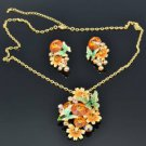 Yellow Sunflower Butterfly Necklace Earring Set Pendant Swarovski Crystal Enamel