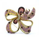 Vintage Style Bow Bowknot Flower Brooch Pin W/ Purple Rhinestone Crystal 3.7""