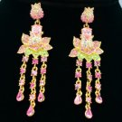 Swarovski Crystal Dangle Pink Flower Pierced Earring w/ High Quality SE0813-1