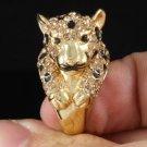 H-Quality Topaz Panther Leopard Cocktail Ring 6# W/ Swarovski Crystals SR1551-3