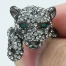 Swarovski Crystals Cute Gray Panther Leopard Cocktail Ring Size 7# SN2921R-3