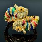 High Quality Swarovski Crystals Multicolor Sea Horse Bracelet Bangle W/ Enamel
