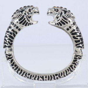 Black 2 Leopard Panther Bracelet Bangle Cuff W/ Swarovski Crystals