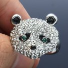 Exquisite Silver Tone Panda Cocktail Ring Adjustable W/ Clear Swarovski Crystals