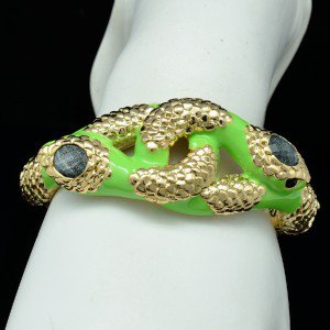 Gold Tone Animal Green Enamel 2 Boa Snake Bracelet Bangle Cuff 01031