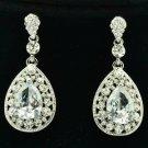 Wedding Rhinestone Crystal Dangle Flower Pierced Earring Drop Clear Zircon 20581