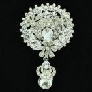 "Chic Clear Flower Brooch Broach Pendant Pin 2.9"" Rhinestone Crystals 6320"