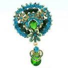 "Drop Chic Green Flower Brooch Broach Pendant Pin 2.9"" Rhinestone Crystals 6320"