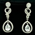 Rhinestone Crystals Teardrop Clear Zircon Dangle Flower Pierced Earring 20633