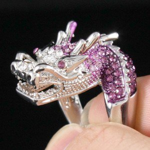 Rhinestone Crystals Silver Tone Purple Dragon Cocktail Ring 7#