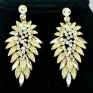Gold Tone Beauty Flower Pierced Earring W/ Clear Rhinestone Crystals 111134