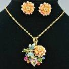 Pink Rose Flower Dragonfly Necklace Earring Set Pendant Swarovski Crystal Enamel