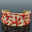 H-Quality Red Enamel Coral Bracelet Bangle Cuff W/ Swarovski Crystals SKA2033M