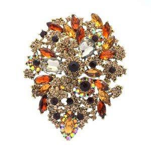"""Vintage Flower Brooch Broach Pin 3.9"""" W/ Brown Rhinestone Crystals Teardrop 3905"""
