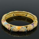 Luxury Flower Bracelet Bangle Swarovski Crystals Multicolor Enamel SKCA1588-5