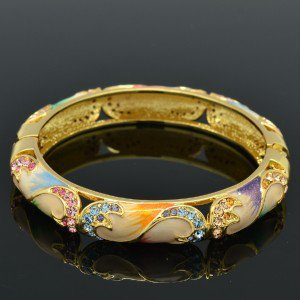 Luxury Flower Bracelet Bangle Swarovski Crystals Multicolor Enamel SKCA1588-5