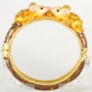 High Quality Animal 2 Mouse Bracelet Bangle Cuff W/ Brown Swarovski Crystals