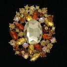 "Vintage Style Brown Flower Pendant Brooch Pin 2.5"" W/ Rhinestone Crystals 4888"