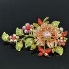 Rhinestone Crystals Princess Red Flower Hair Comb Head Jewelry 4712
