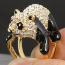 Gold Tone Cute Animal Panda Cocktail Ring 9# W/ Clear Swarovski Crystal SR1847-1