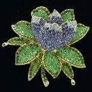 Rhinestone Crystals Purple Lotus Flower Brooch Broach Pin BT0182