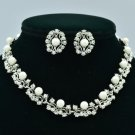 High Quality Faux Pearls Necklace Earring Set w/ Clear Swarovski Crystals 351001