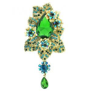 "Green Flower Leaves Broach Brooch Pin Pendant Rhinestone Crystals 3.9"" 6176"