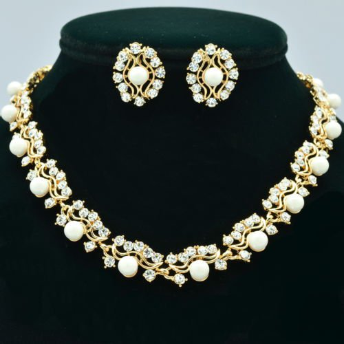 Gold Tone H-Quality Faux Pearls Necklace Earring Set Swarovski Crystal 351101