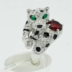 High Quality Leopard Panther Cocktail Ring w/ Swarovski Crystal Size 9# 0744