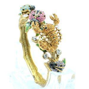 Vintage Style Swarovski Crystals Ladybug Scorpion Bracelet Bangle SKCA1799-2