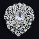 """Wedding Floral Flower Pendant Brooch Broach Pin 3.8"""" W/ Clear Rhinestone Crystal"""