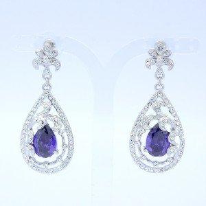 Purple Zircon Drop Dangle Pierced Flower Earring W/ Rhinestone Crystals 20327