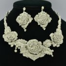 Popular Wedding Clear Rose Flower Necklace Earring Set W/ Rhinestone Crystals