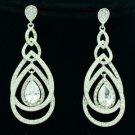 Dangle Pierced Clear Zircon Teardrop Earring W/ Rhinestone Crystals 21507
