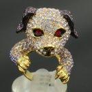 H-Quality Funny Lovely Dog Doggie Cocktail Ring 7# W/ Purple Swarovski Crystals
