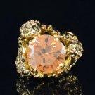 Vintage Style Swarovski Crystals Animal Brown 3 Scorpion Cocktail Ring 7#
